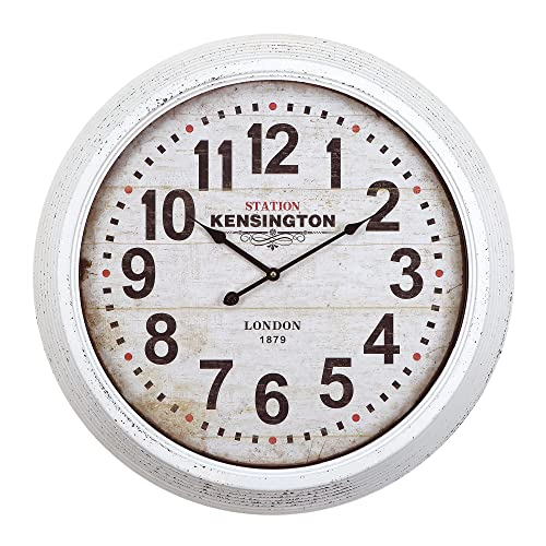 Yosemite Home Decor Circular Iron Wall Clock, White Frame, White Face, Black Text, Black Hands