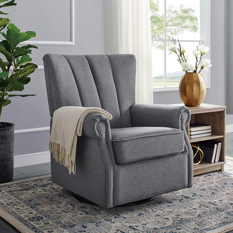 Remarkable Classic Brands David John Popstitch Upholstered Glider Swivel Rocker Chair Grey Spiritservingveterans Wood Chair Design Ideas Spiritservingveteransorg