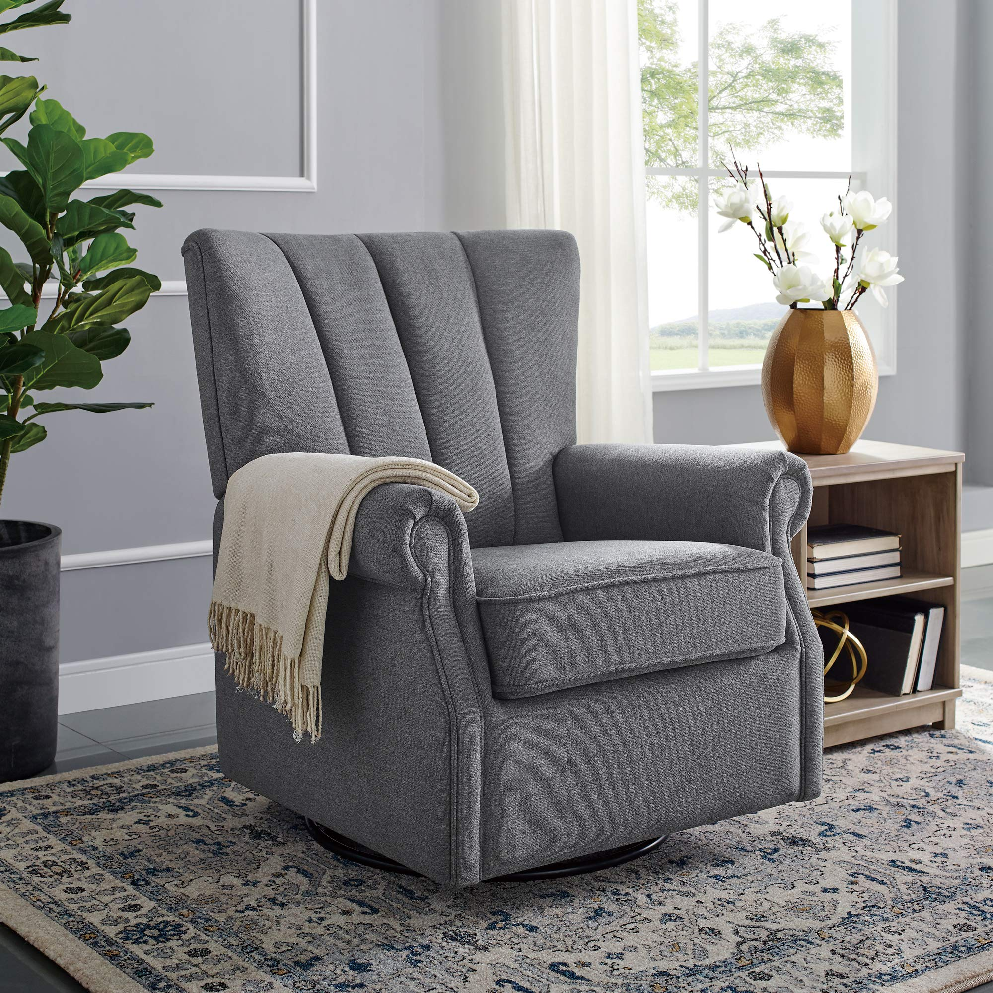 Classic Brands David & John Popstitch Upholstered Glider Swivel Rocker Chair, Grey by Classic Brands