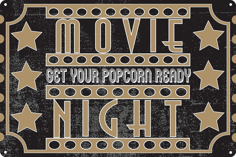 "Toothsome Studios Movie Night 12"" x 8"" Movie Room Home Theater Decor"