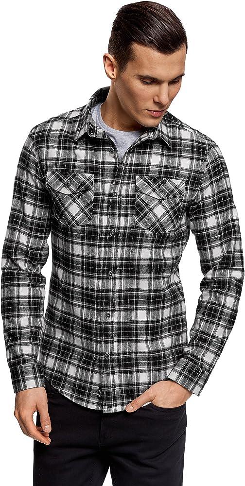 oodji Ultra Hombre Camisa a Cuadros con Bolsillos en el Pecho, Gris, 46-48: Amazon.es: Ropa y accesorios