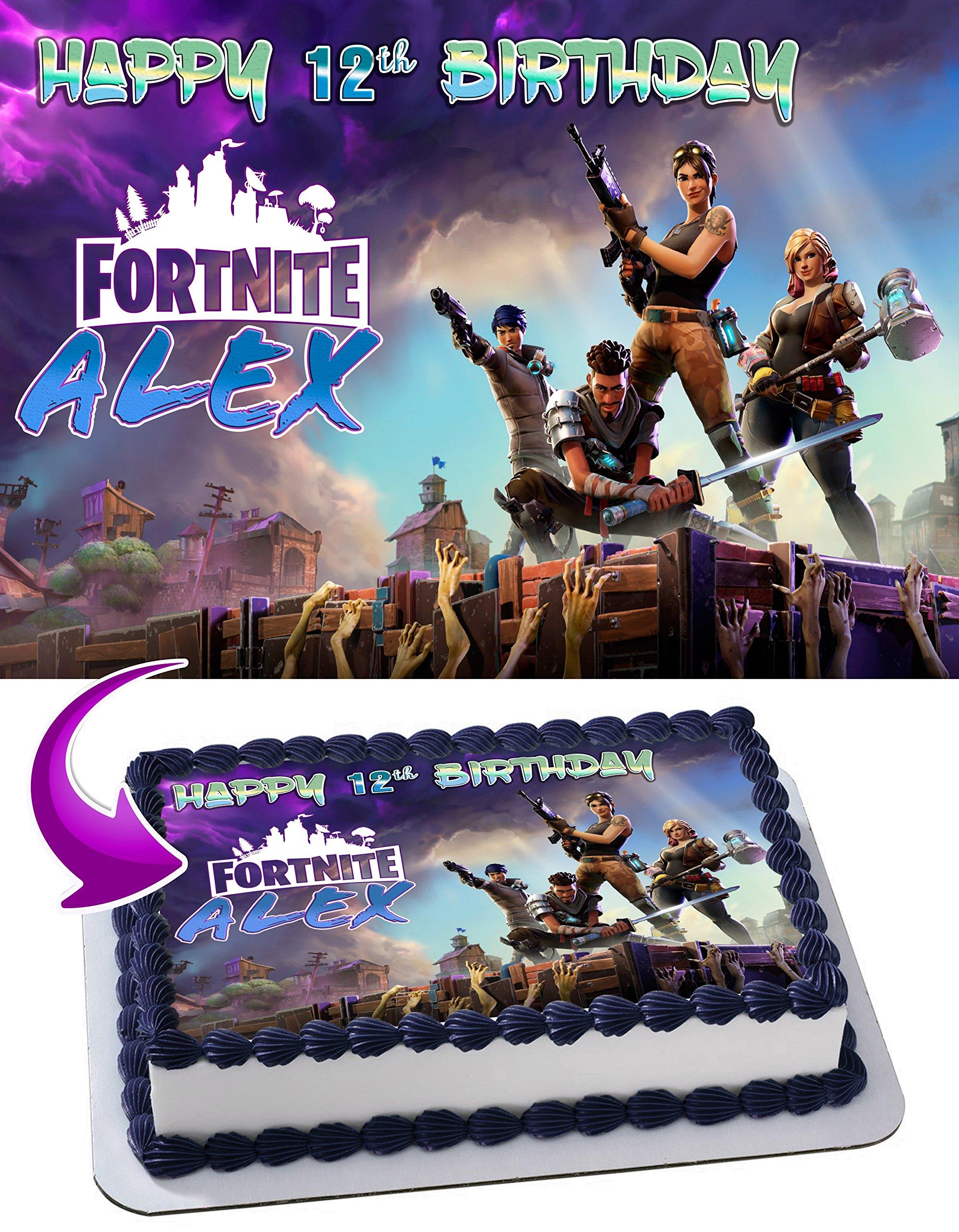 Fortnite Battle Royale Edible Image Cake Topper Personalized Birthday 1/4 Sheet Decoration Custom Sheet Party Birthday Sugar Frosting Transfer Fondant Image ~ Best Quality Edible Image for cake