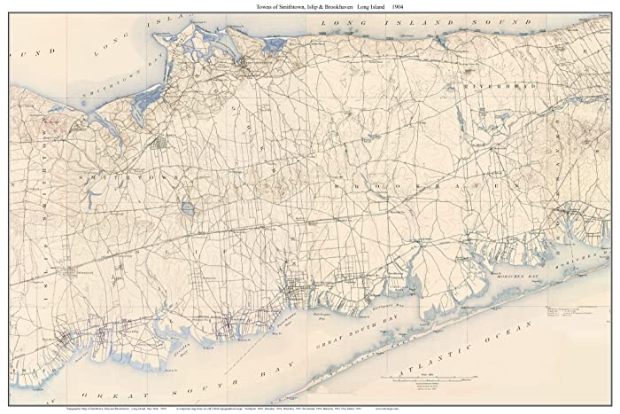 Topographic Map Long Island.Amazon Com Smithtown Brookhaven 1904 Map Usgs Topo Long Island