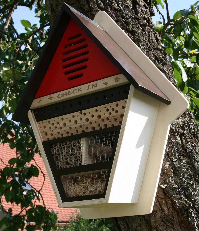 'Grand Hôtel à insectes Maison de Check in insectes en bois FSC abeilles nist Incubateur en suède Rouge colourliving