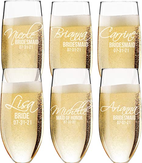 wedding party gifts bridesmaid gifts Custom champagne flute bridal party gift personalized bridesmaid gift custom champagne glasses bridesmaids glass champagne flute