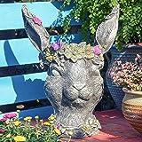 "Sungmor Bobby Rabbit Head Planter - Premium Resin & 14.6"" Tall Large Garden Pot - Lovely Animal Figurine Ornament Plant Conta"