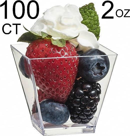 2 oz Disposable Clear Single Serve Square Dessert Cups PLASTIC GLASSES TABLEWARE