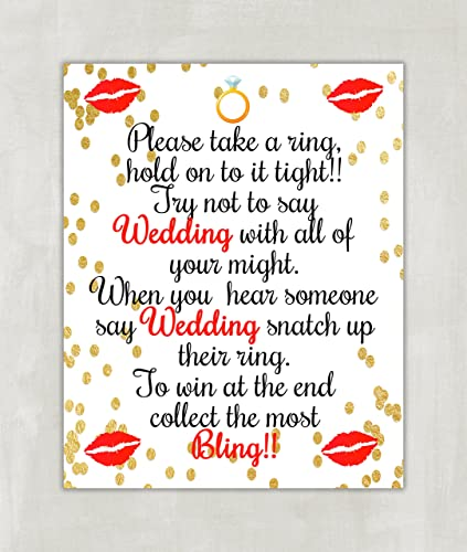 please take a ring game bridal shower sign wedding shower game unframed