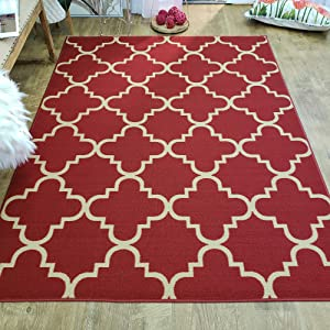 Area Rug 3x5 Red Trellis Kitchen Rugs and mats | Rubber Backed Non Skid Rug Living Room Bathroom Nursery Home Decor Under Door Entryway Floor Non Slip Washable | Made in Europe