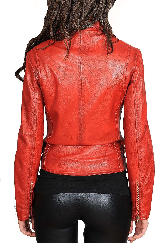 Ladies Cross Zip Slim Fit Biker Style Real Leather Jacket Nadine Red