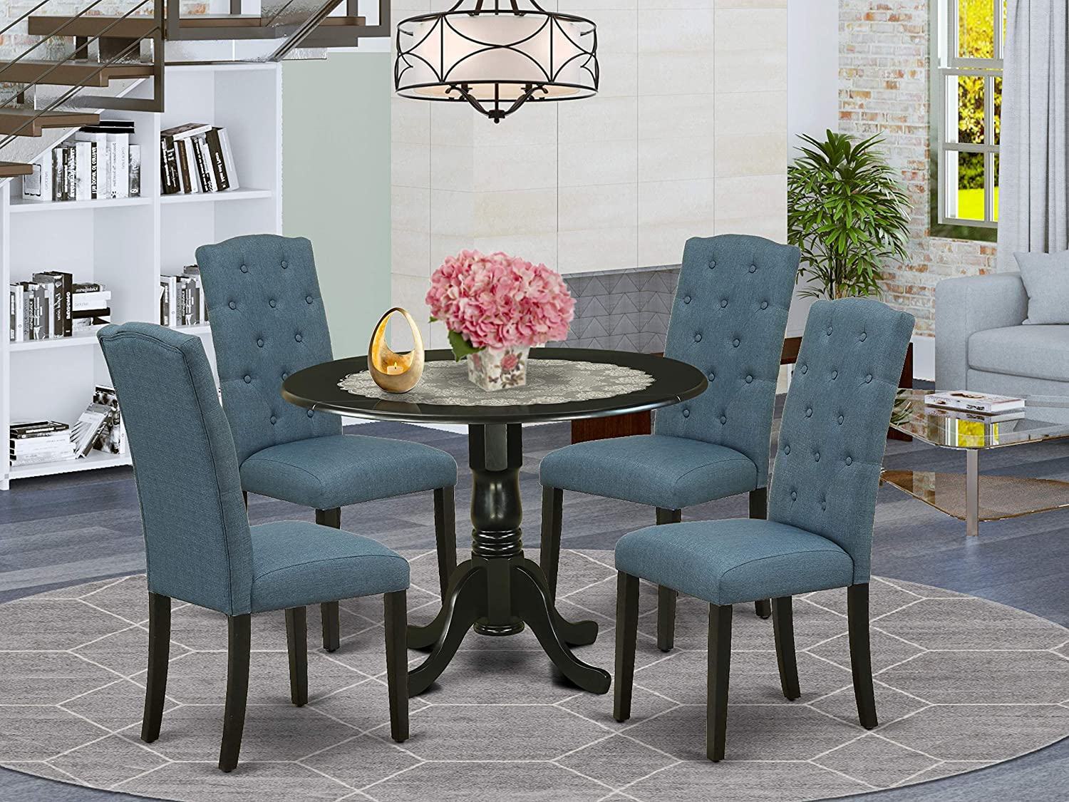 East West Furniture Kitchen Dinette Set 5 Pc - Blue Linen Fabric Button-tufted Kitchen Parson Chairs - Black Finish Solid wood drop leaves Pedestal Dining Table and Frame