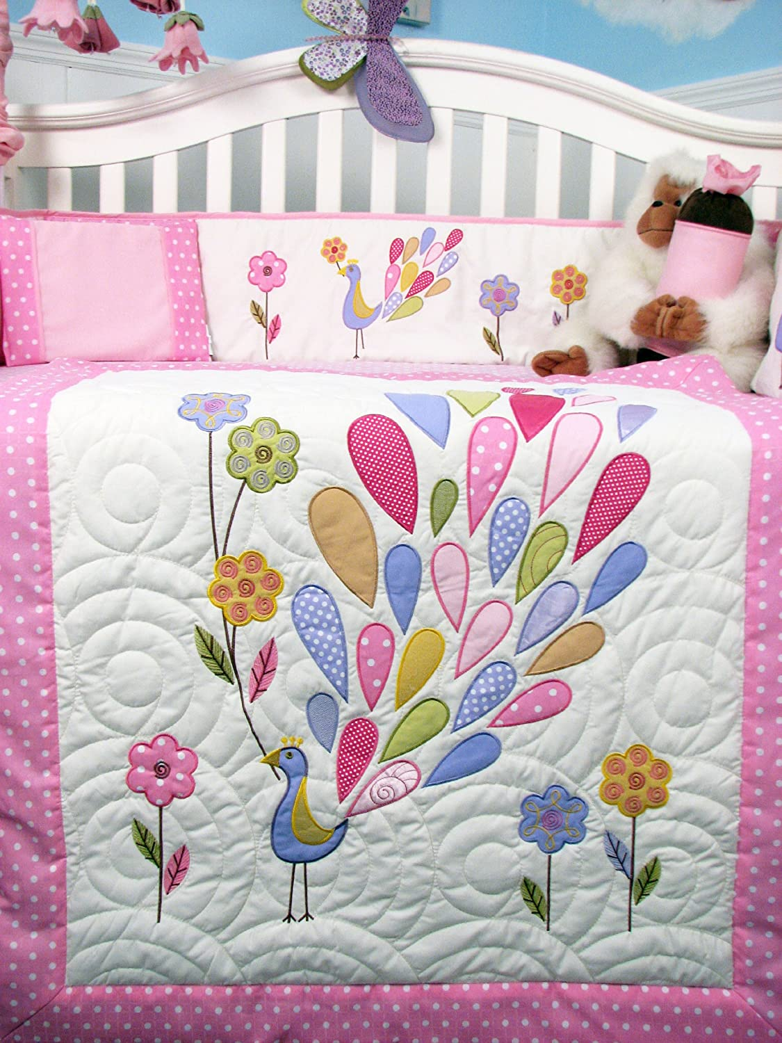 superb Peacock Baby Bedding Sets Part - 9: Amazon.com : SOHO Gloria the Peacock Crib Nursery Bedding Set 14 pcs : Crib  Bedding Sets For Girls : Baby