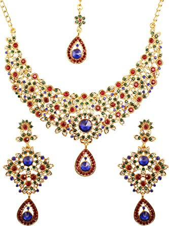 Touchstone Indian Bollywood Traditional Floral Theme White Rhinestone and Blue Faux Sapphire Bridal Designer Jewelry Necklace Set for Women in Antique Gold Tone