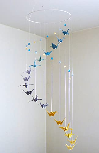 mobile bb origami spirale 18 grues et perles en verre bleu gris jaune - Fabriquer Mobile Bebe Origami