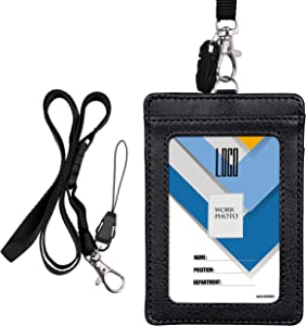 Badge Holder, Wisdompro 2-Sided PU Leather ID Badge Card Holder Wallet Case with 1 Clear ID Window and 1 Credit Card Slot and 22 Inch Quick Rlease Detachable Neck Lanyard Strap - Black (Vertical)