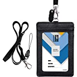 """Badge Holder, Wisdompro Double Sided PU Leather ID Badge Card Holder Wallet Case with 22"""" Detachable Neck Lanyard/Strap - Black (Vertical)"""