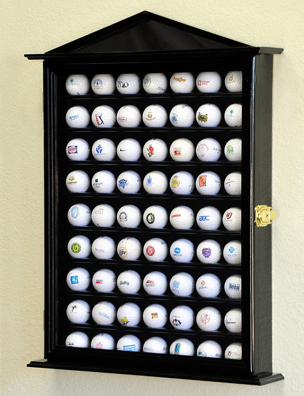 63ゴルフボールデザイナー表示ケースキャビネット壁ラックホルダーW / 98 % UV保護Lockable 黒 Finish