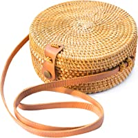 Handwoven Round Rattan Bag Shoulder Leather Straps Natural Chic Hand NATURAL NEO