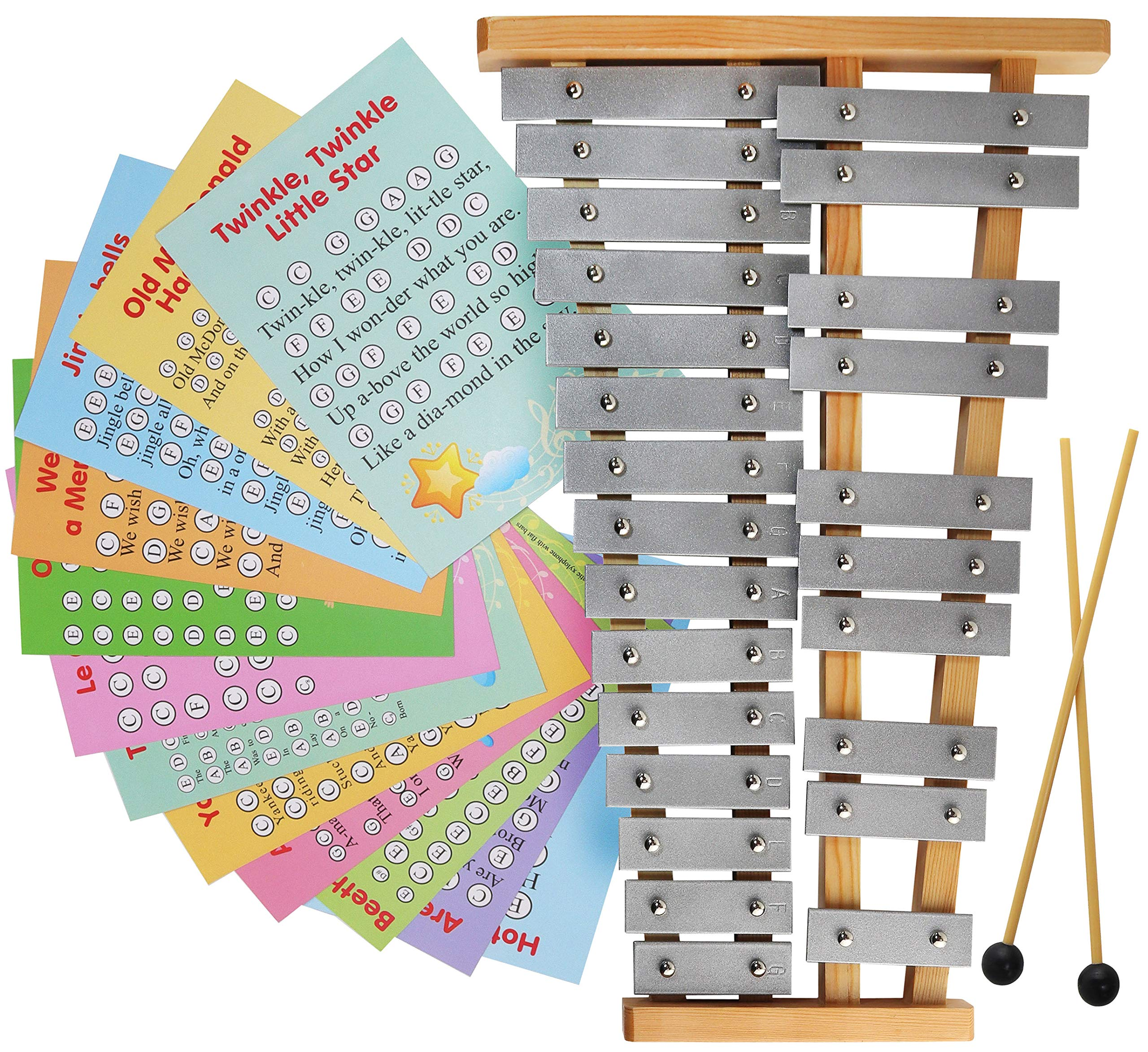 Glockenspiel 25 Note - Chromatic Metal Xylophone - Sheet Music Cards by inTemenos