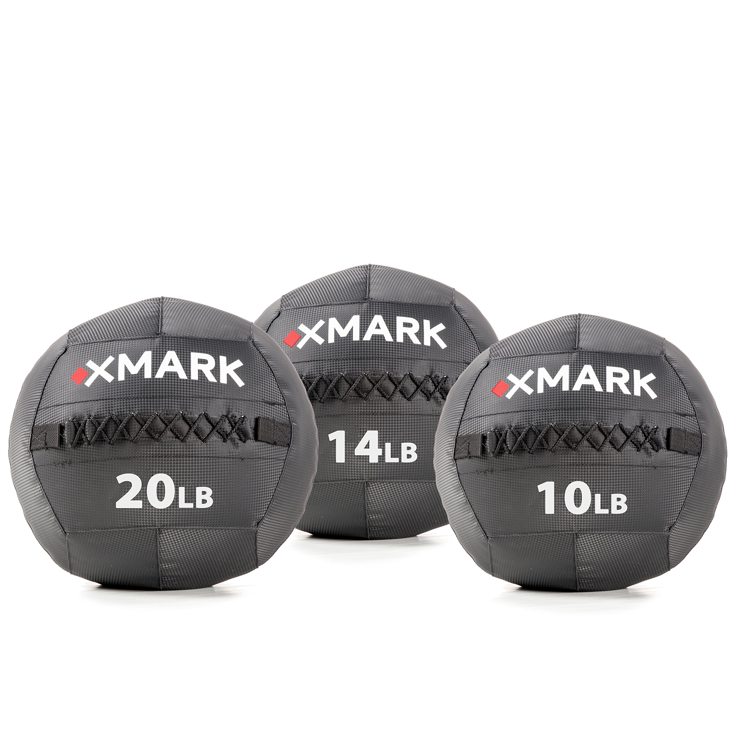 XMark Wall Ball/Medicine Ball, Ideal for Strength Training and Conditioning, Triple Stitched for Reinforcement, 10 lb, 14 lb, and 20 lb. Set of Exercise Balls