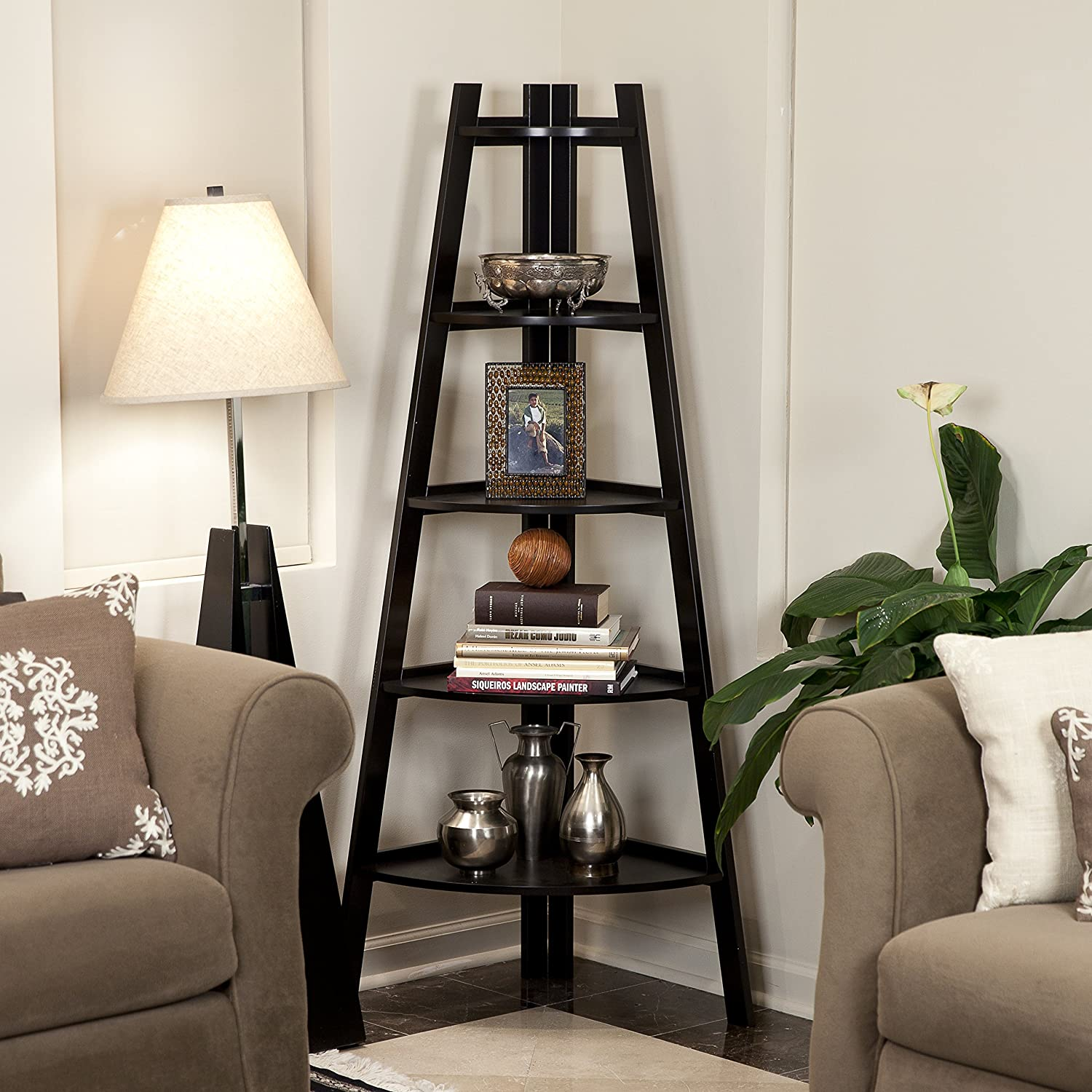 danya b five tier corner ladder display bookshelf