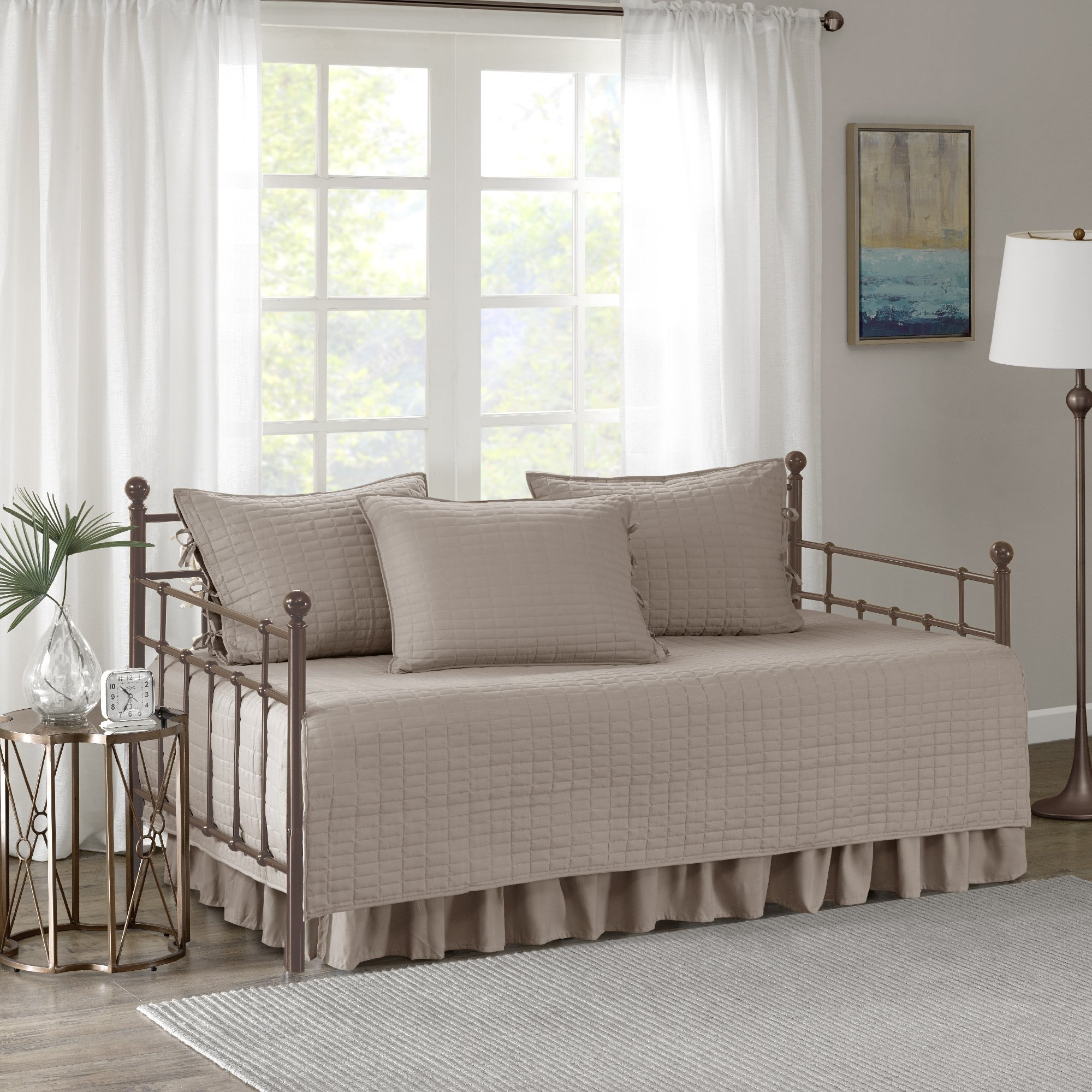 Comfort Spaces - Kienna Daybed Set - Stitched Quilt Pattern - 5 Pieces - Taupe - Includes 1 Bed Spread, 1 Bed Skirt and 3 Pillow Cases