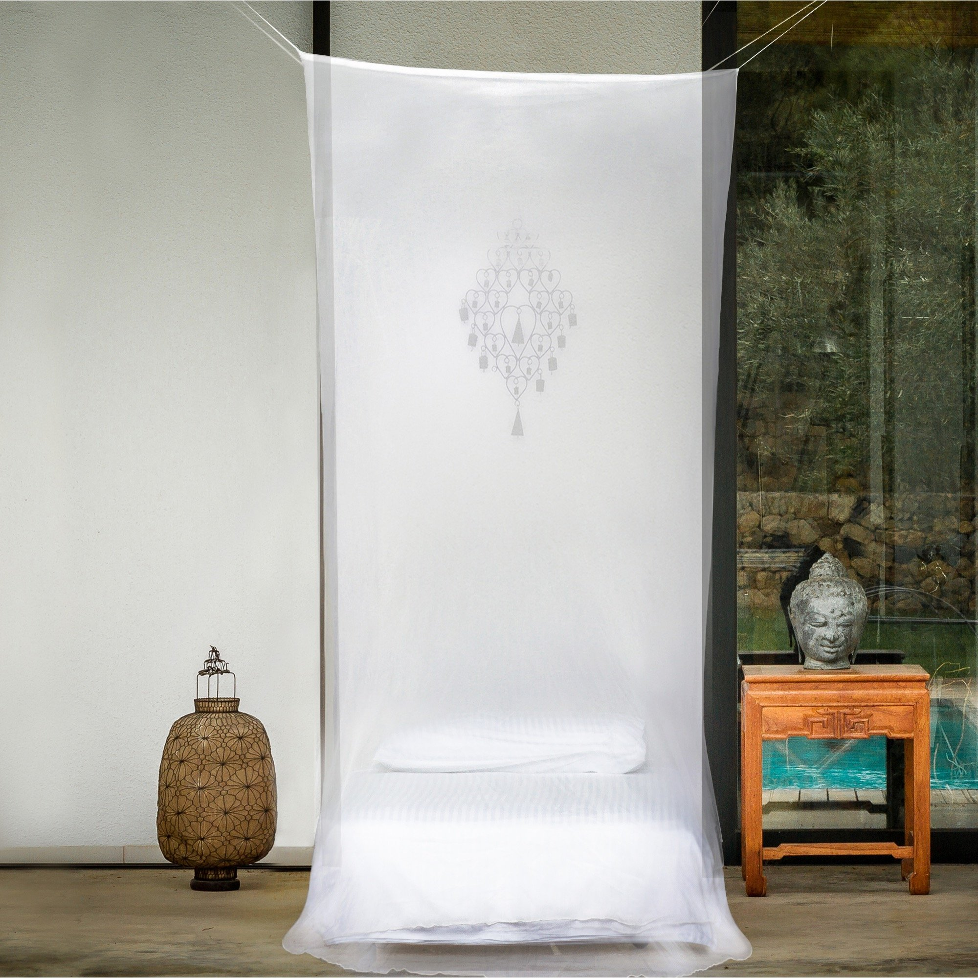 EVEN Naturals MOSQUITO NET for Bed Canopy, Tent for Cot, Single to Twin XL Size, Square Curtains, White Mosquito Netting with Opening, Easy Installation, Carry Bag