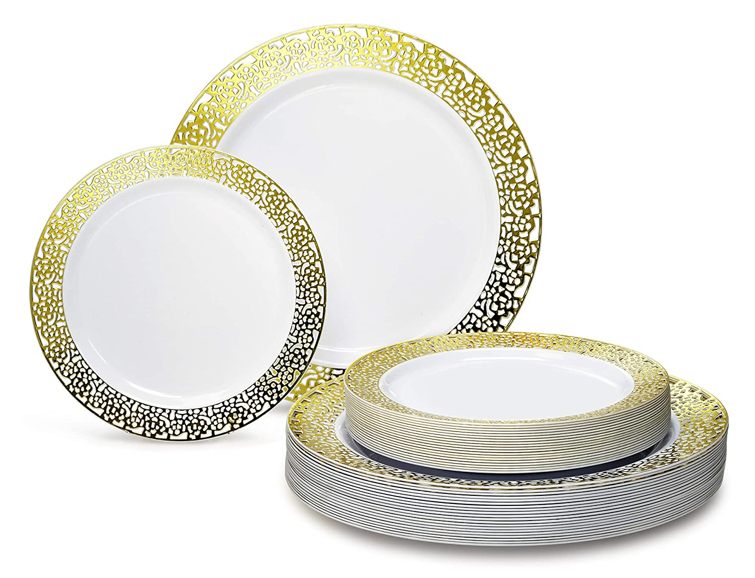 Florence Ivory   gold 50 piece set (25 guests) OCCASIONS 720 PCS   120 GUEST Wedding Disposable Plastic Plate and Silverware Combo Set (Diamond White Silver Plates, Silver Silverware)