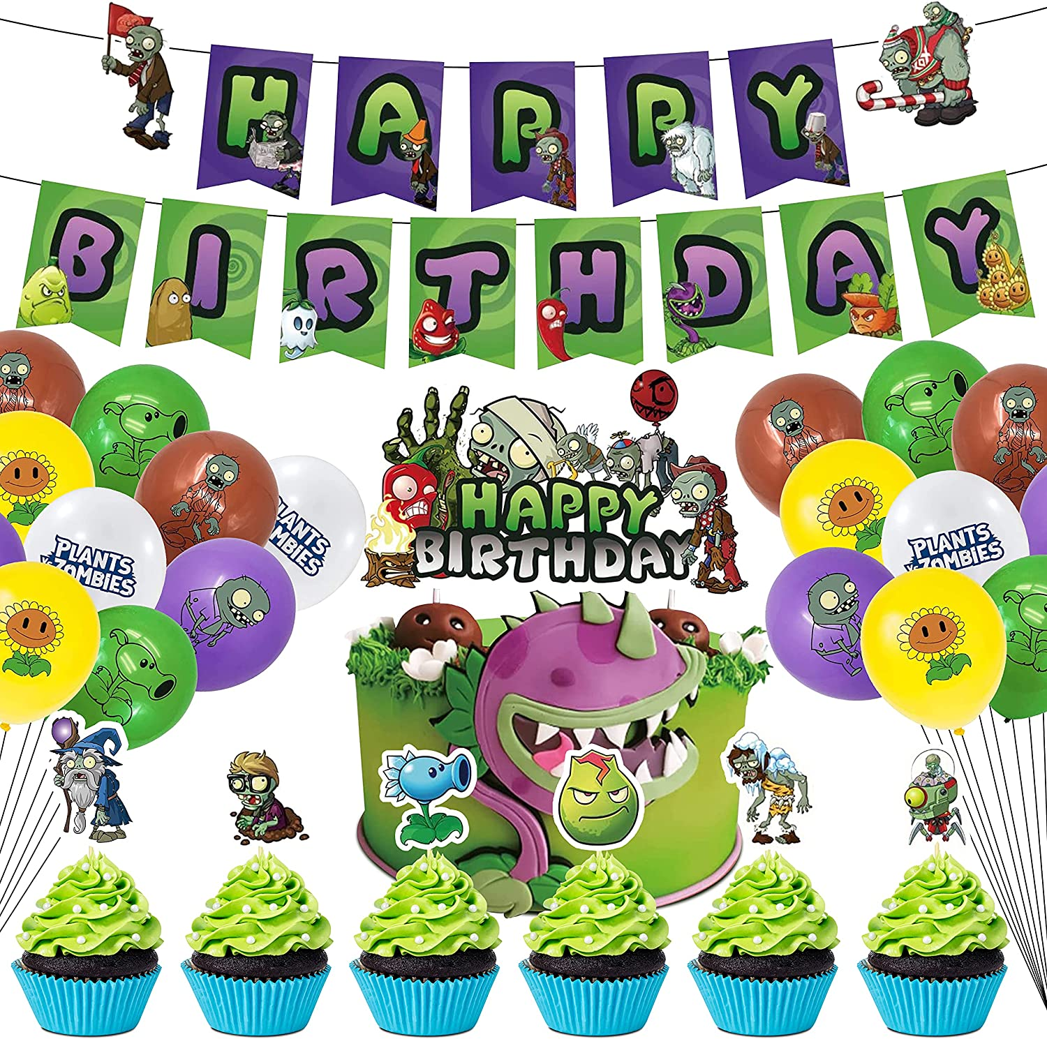 BLATOMY Plant vs Zombies Birthday Party Supplies - 38Pcs PVZ Party Supplies Birthday Decorations Pack with Happy Birthday Banner, PVZ Balloons, Cake Cupcake Topper for Kids Room Decor, Halloween