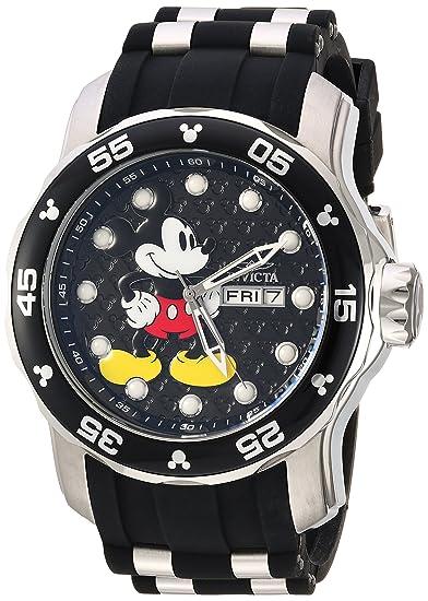 Invicta 23763 Disney Limited Edition - Mickey Mouse Reloj para Hombre acero inoxidable Cuarzo Esfera negro: Amazon.es: Relojes
