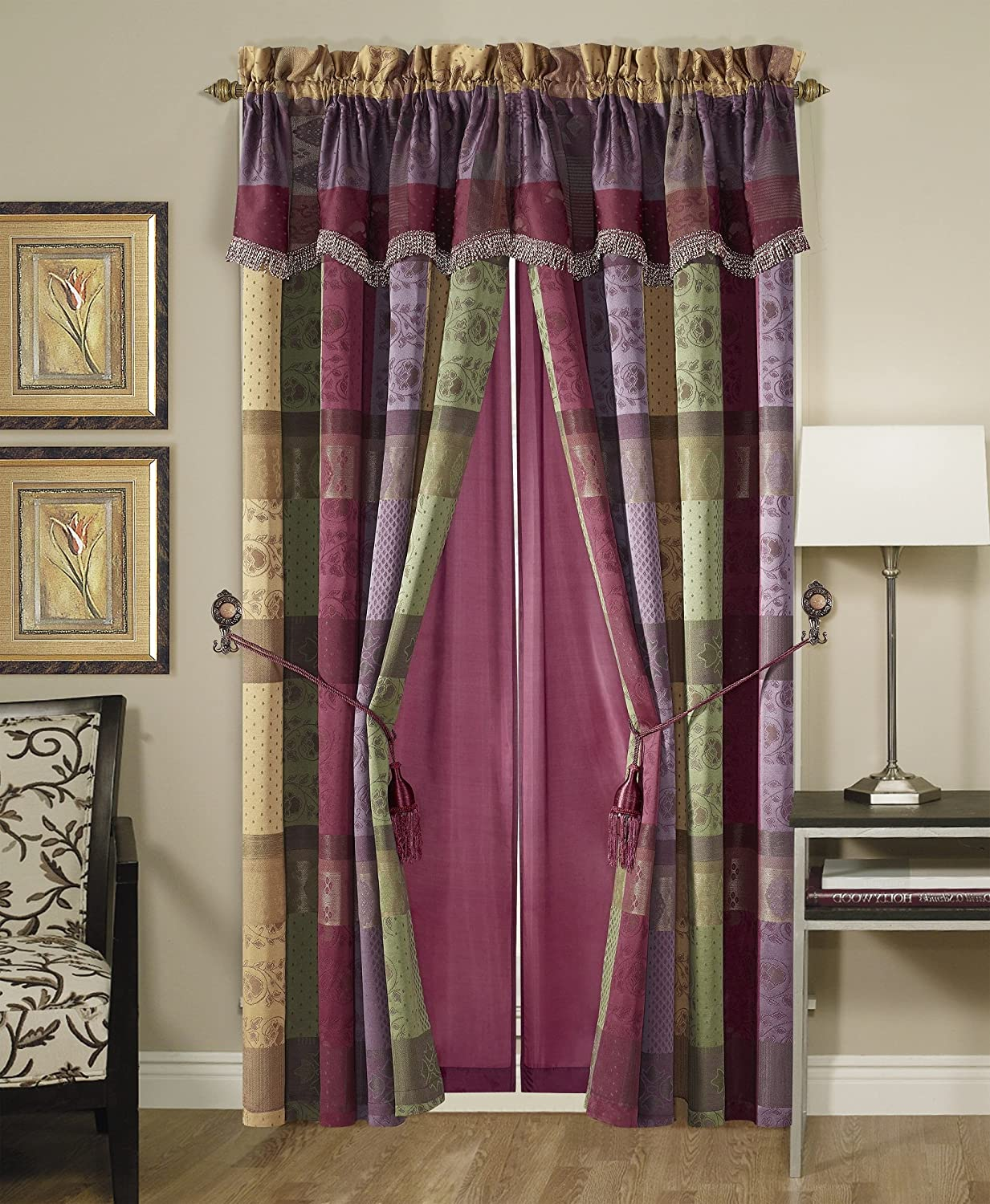 Chezmoi Collection Gitano Jacquard Patchwork 4-Piece Window Curtain/Drape Set