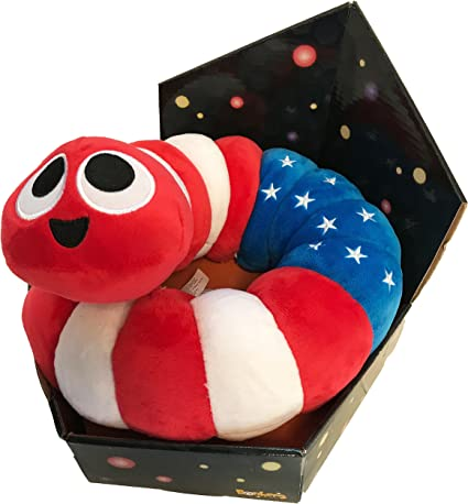 "White Slither.io 8/"" Bendable Plush Toy Red and Blue American Flag Slitherio"