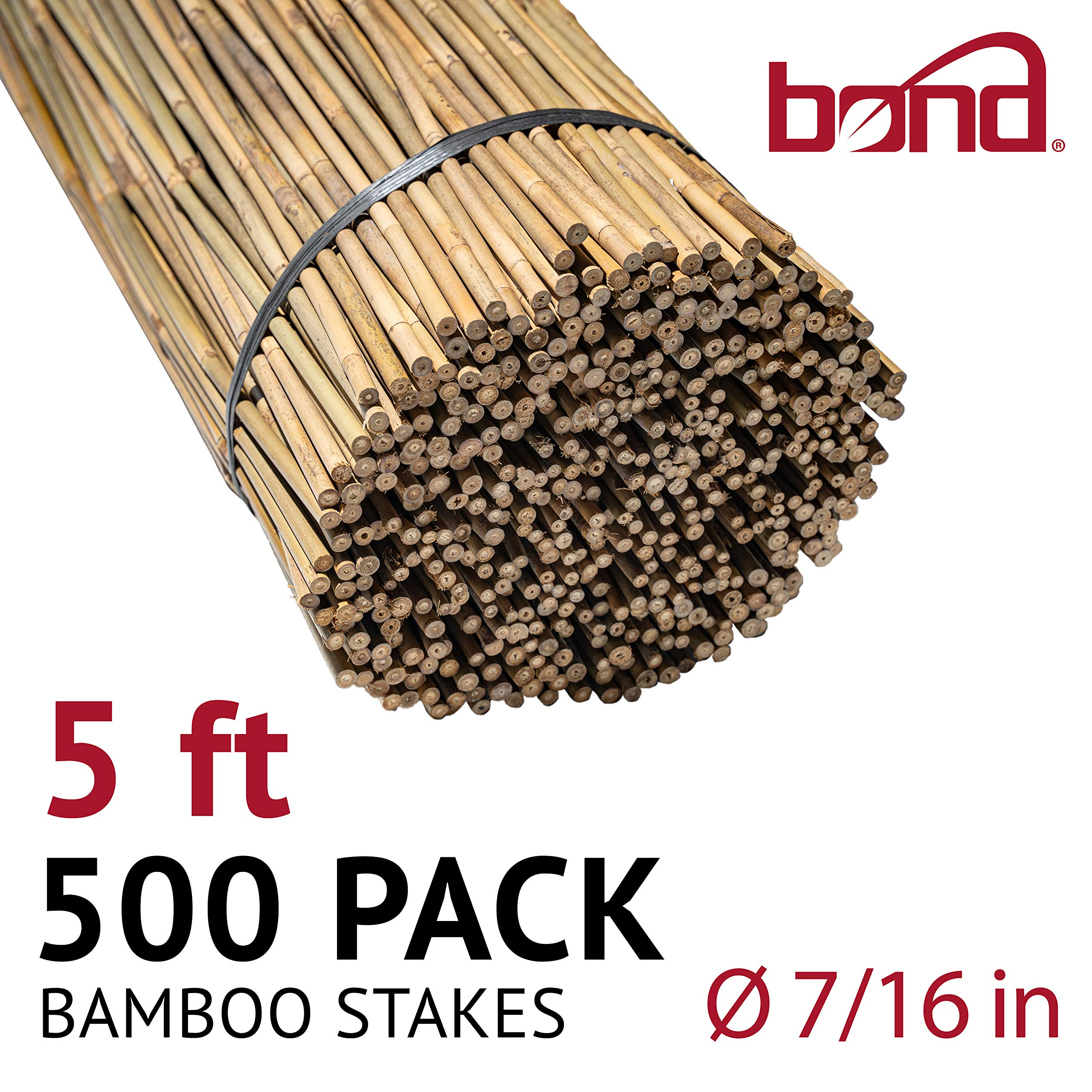 Bond Manufacturing N510 5-ft x 7/16-in Diameter Bamboo Stakes, 250-pack, Natural by Bond Manufacturing