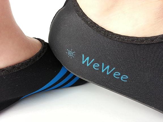 WeWee Zapatillas de Gimnasia Para Hombre Negro Schwarz Mit 3 blauen Streifen, Color Negro, Talla 42/43