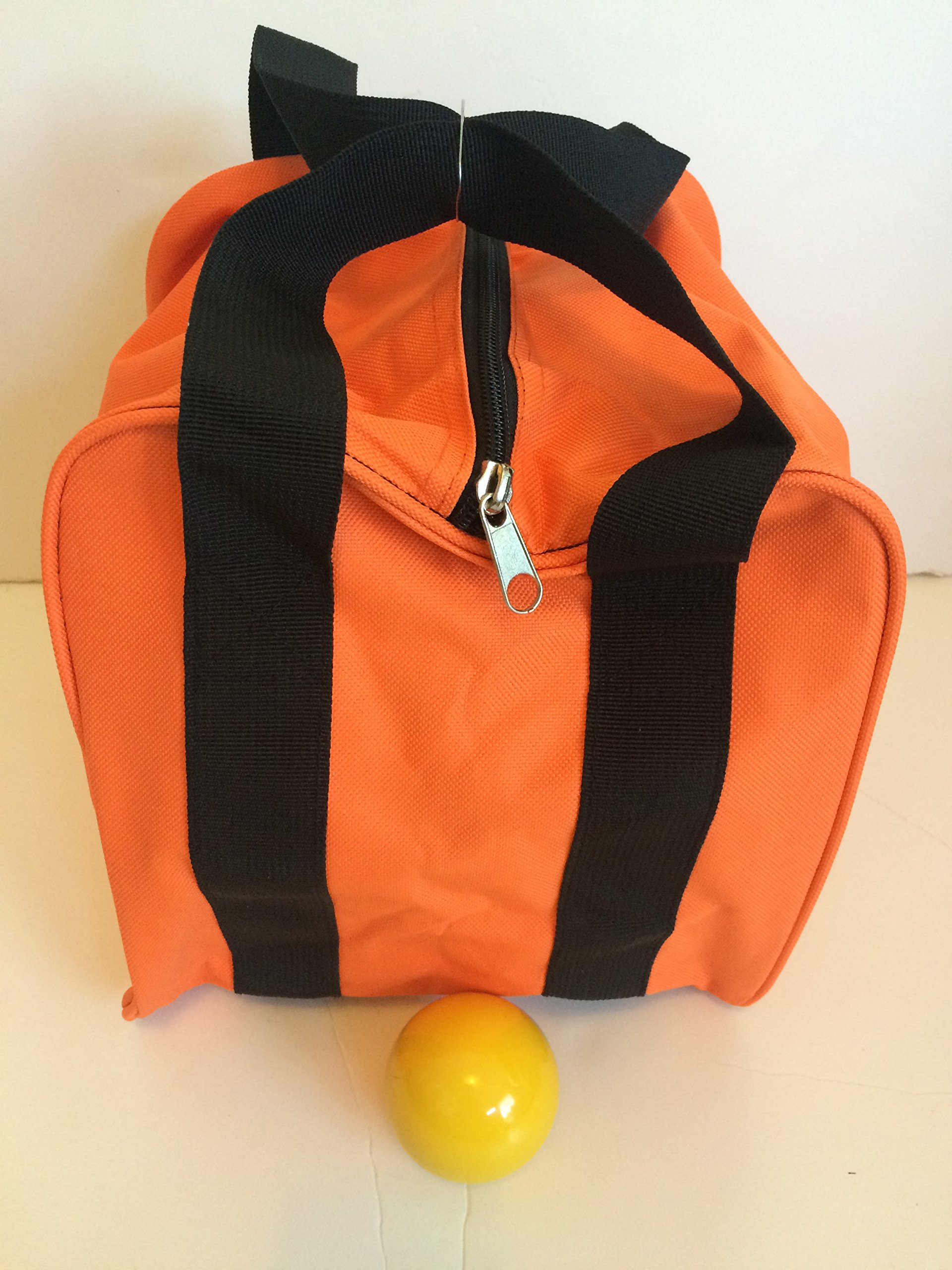 Unique Bocce Accessories Package - Extra Heavy Duty Nylon Bocce Bag (Orange with Black Handles) and yellow pallina