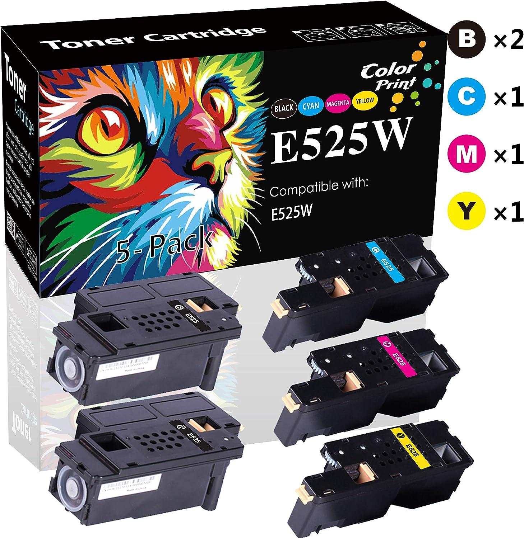 Compatible Dell E525W 525W E525 Toner Cartridge Used for Dell E525w Wireless Color 593-BBJX 593-BBJU 593-BBJV 593-BBJW Printer (2xBlack/Cyan/Magenta/Yellow, 5-Pack), by ColorPrint
