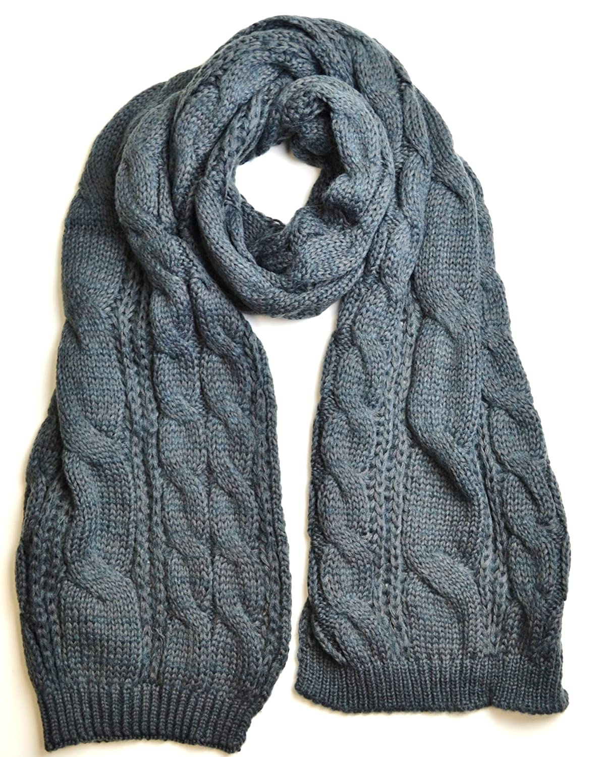 Charcoal Grey Chunky Knitted Cable Pattern Unisex Thick Winter Scarf