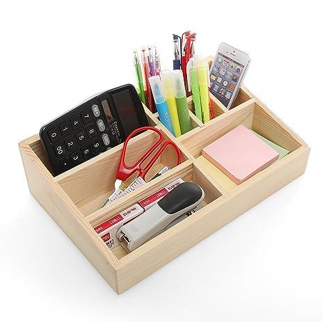 Natural Wood Desktop Office Supply Storage Caddy Organizer, Drawer Tray    Beige