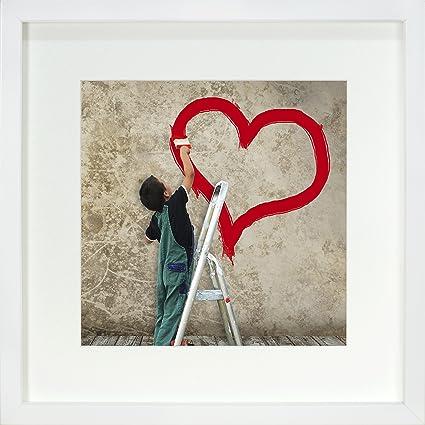 BD ART 28 x 28 cm Marco de Fotos con Paspartu 20 x 20 cm, Blanco ...