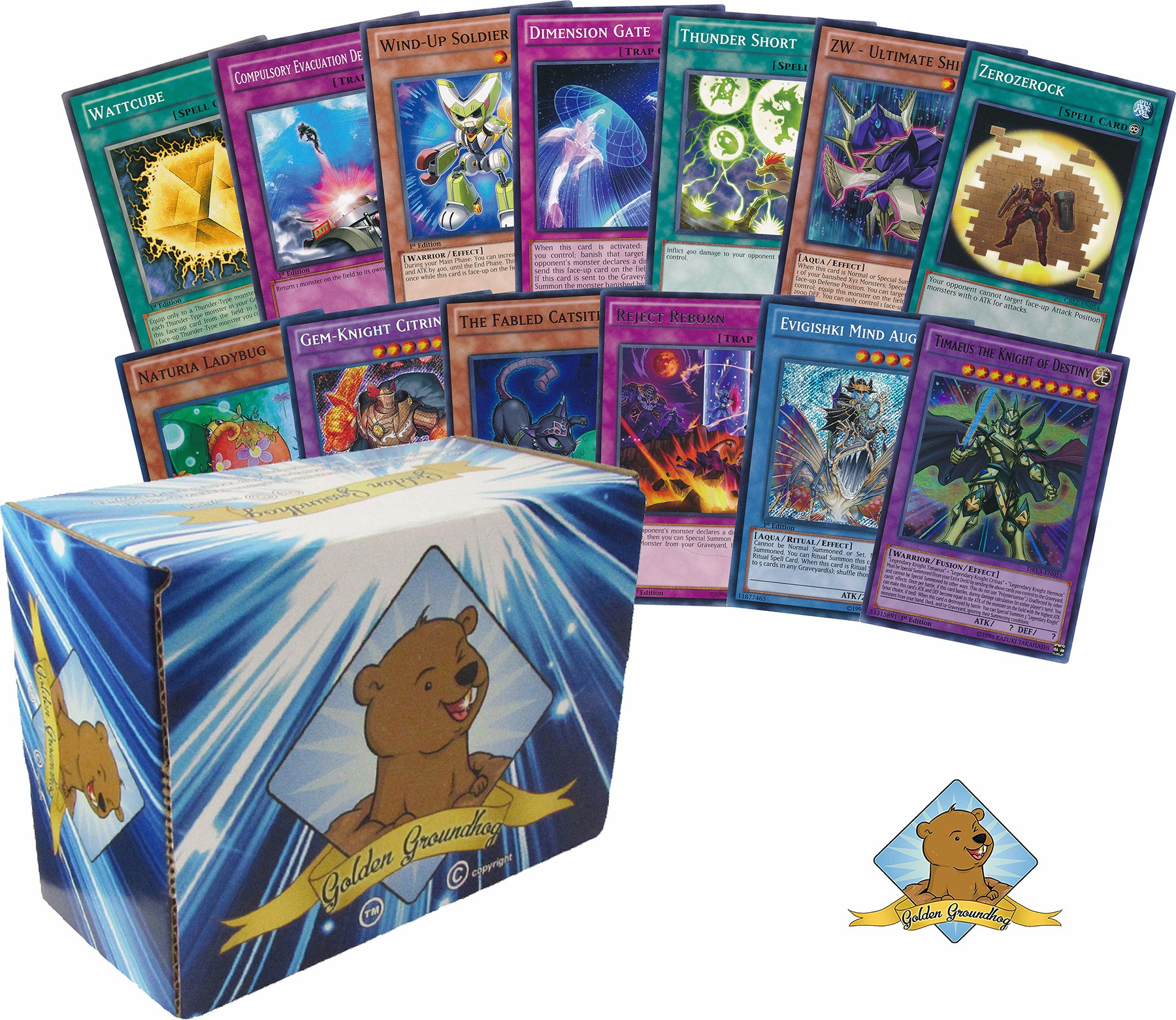 1000 Yugioh Cards - Featuring Rares and Holos and 1 Yugioh Limited Edition Playmat! Includes Golden Groundhog Storage Box!