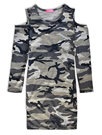 3ea6fcd4cc6bd Frog and Bow Girls Dress - Long Sleeve Kids Dresses - Girls Camo Dress -  Childrens Cold Shoulder Dress - Girls Camouflage Clothes (7-8 Years): Amazon .co.uk: ...