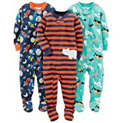 Simple Joys by Carter's Baby Boys' 3-Pack Snug Fit Footed Cotton Pajamas, Dogs/Space/Rhino, 6-9 Months