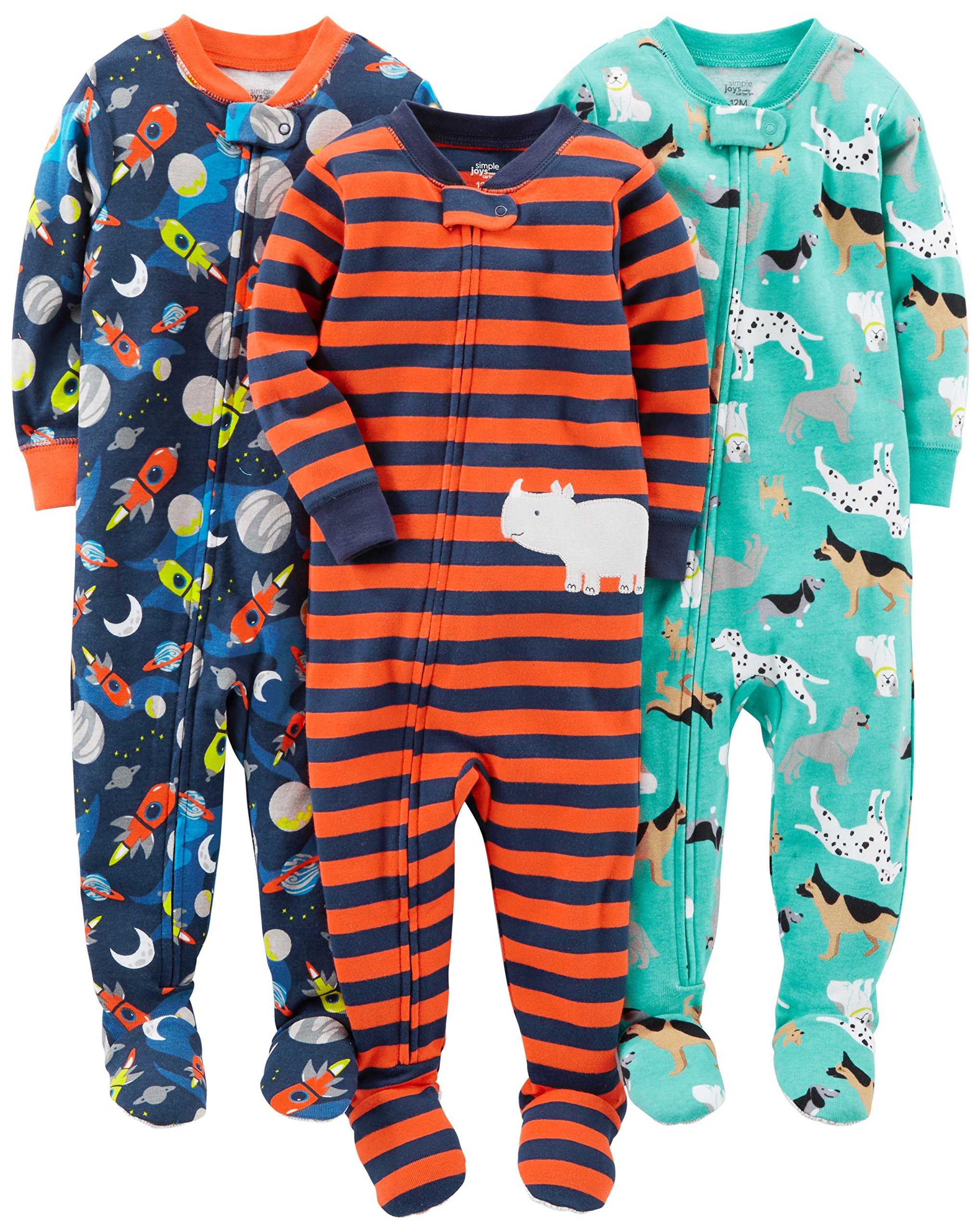 Simple Joys by Carter's Baby Boys' 3-Pack Snug-Fit Footed Cotton Pajamas, Dogs/Space/Rhino, 4T