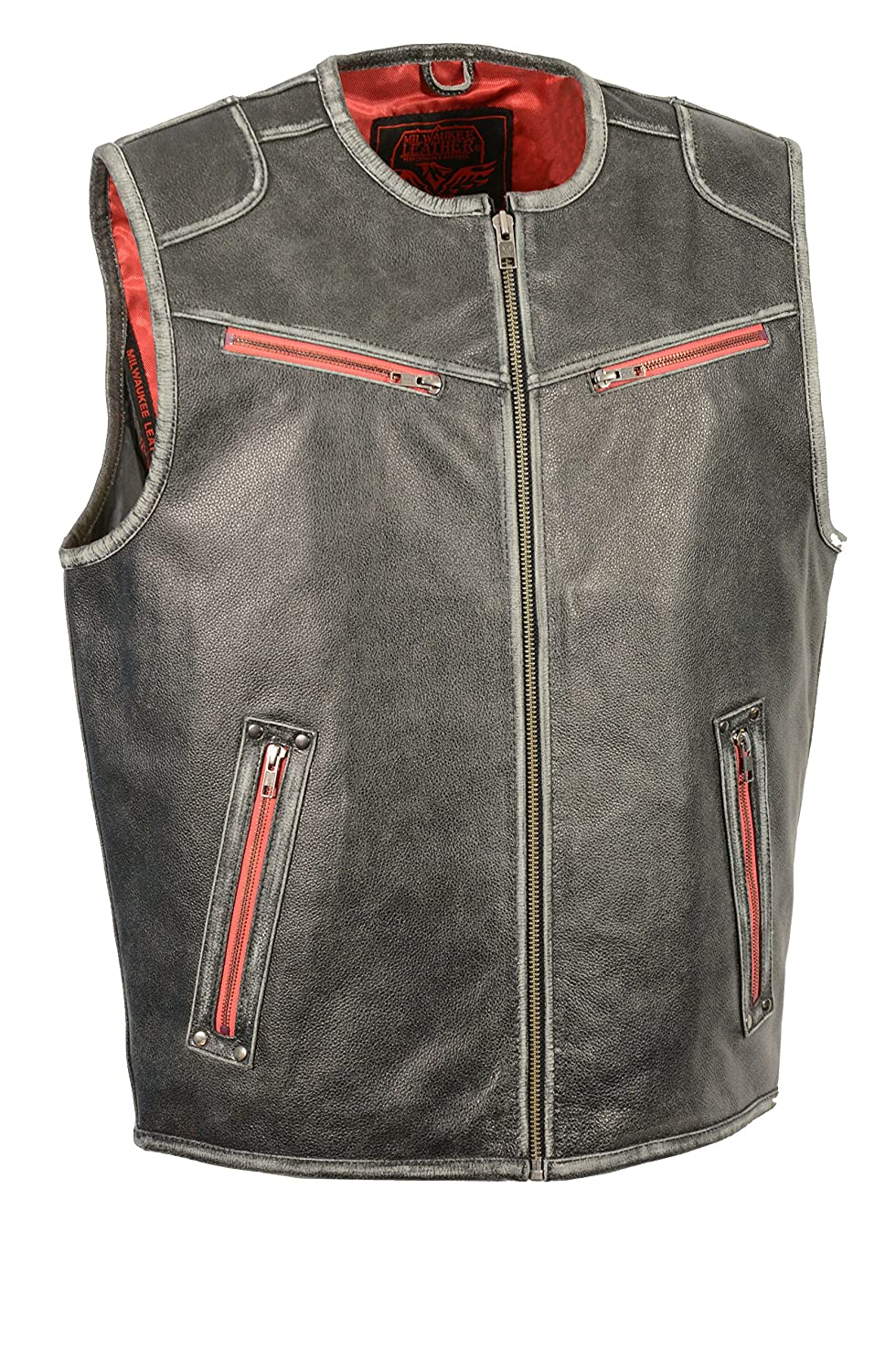 Milwaukee Leather Mens Sport Scooter Vest with Color Accent Distressed Grey, X-Large MLM3535-DSGRY-XL