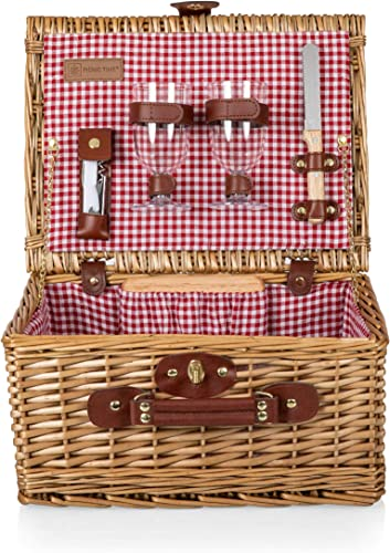 PICNIC TIME Classic Wicker Wine and Cheese Basket with Service for Two, Red White Check