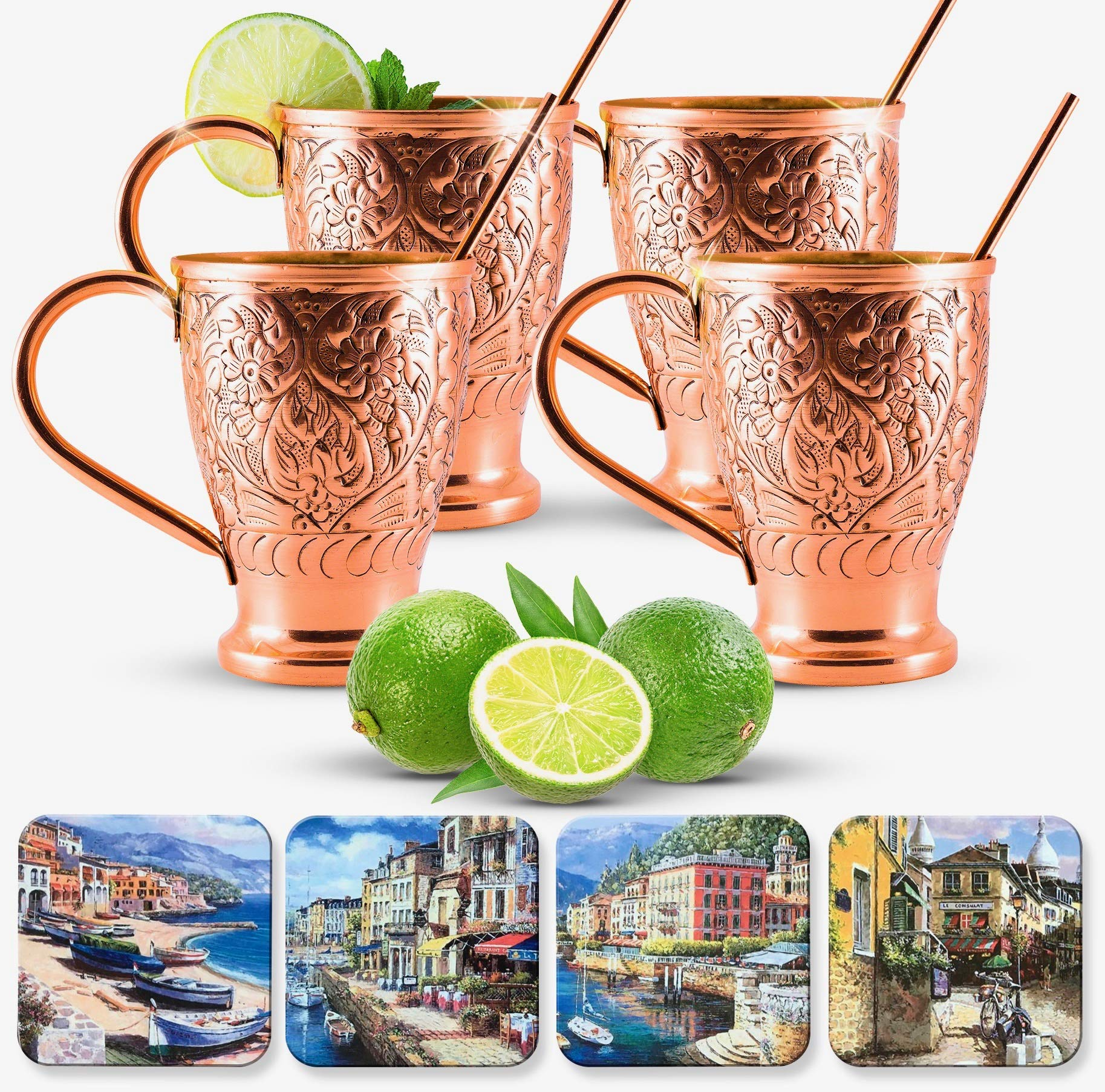 Moscow Mule Pure Copper Mugs | Stunning Embossed Gift Set of 4 Copper Cups | Bonus Cocktail Coasters & Straws/Stir Sticks | Kamojo Exclusive (Set of 4)