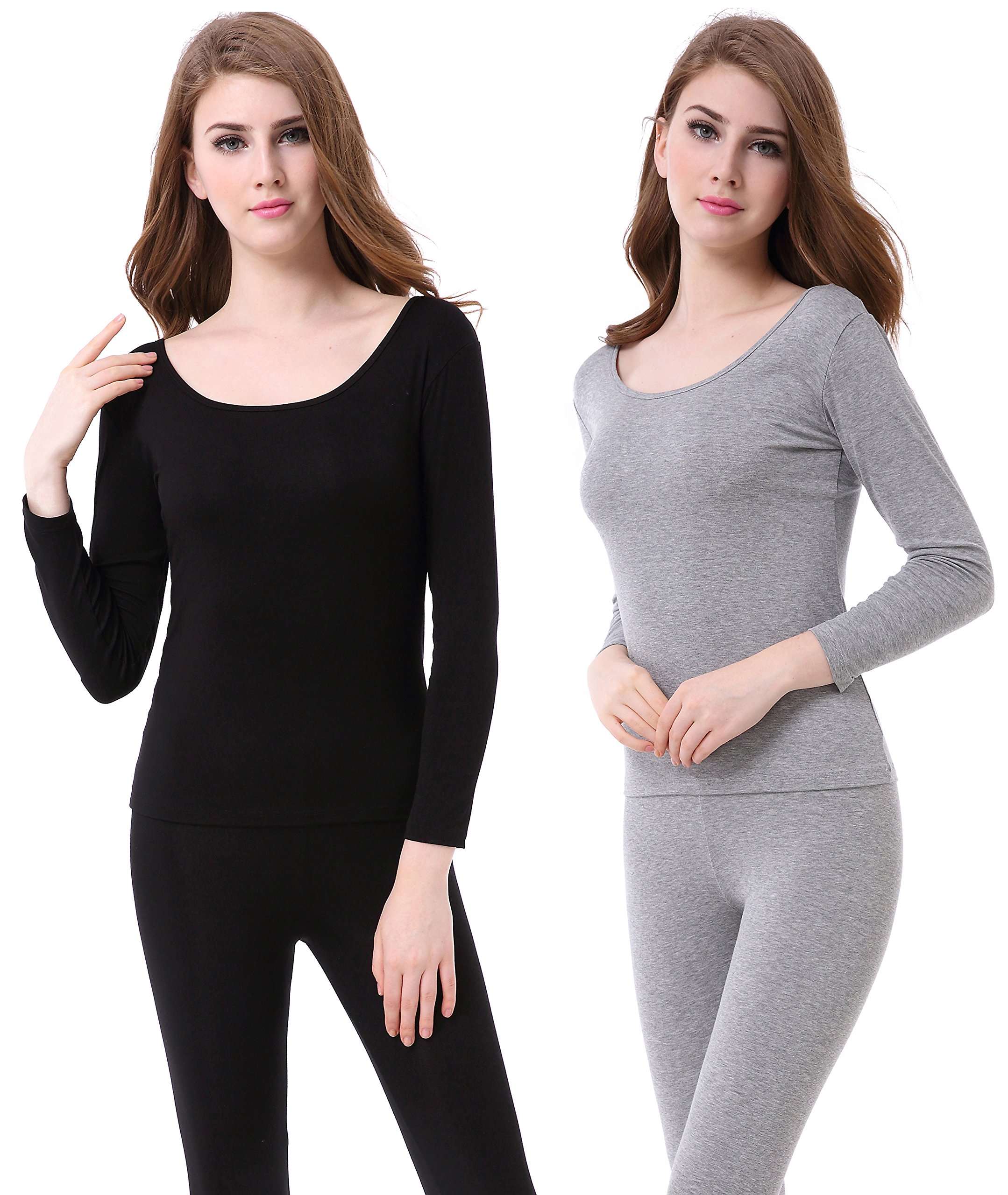 Womens Long Johns Lightweight Comfy Base Layers Scoop Neck Thermal Underwear Set