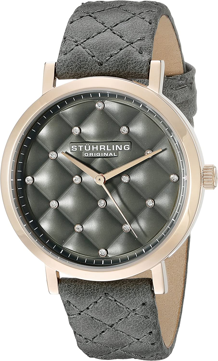 Stuhrling Original Women s Audrey Quartz Quilted Swarovski Crystal Dial Watch with Quilted Leather Band 462 Series