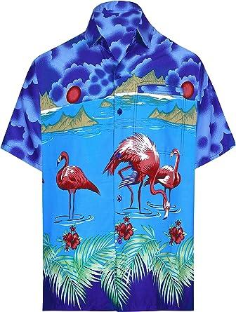 LA LEELA Casual Hawaiana Camisa para Hombre Señores Manga Corta Bolsillo Delantero Surf Palmeras Caballeros Playa Aloha 7XL-(in cms): 178-183 Azul_W60: Amazon.es: Ropa y accesorios