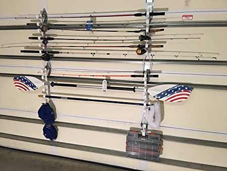 4th Wall Solutions Garage Door Storage Hooks Rack for Fishing Rods, Kayak Paddles, Garden Tools